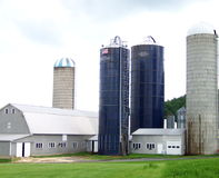 4 Silos. Four silos loom over the top of the barns and garages Stock Image