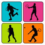 4 siluette di tennis Fotografia Stock