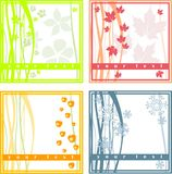 4 simple season cards. 4 simple spring summer fall winter cards Royalty Free Stock Photos