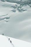 4 skiërs op MT Blanc Royalty-vrije Stock Foto