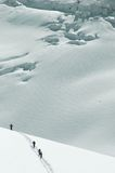 4 Skiers on the Mt Blanc Royalty Free Stock Photo