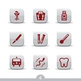4 släta medicinska serie för symboler Arkivfoto