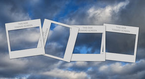 4 Slide mounts. Empty slide mount on a cloudy background Royalty Free Stock Photos
