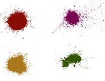 4 Splats 1. 4 Colored Splats Highly detailed Royalty Free Stock Image