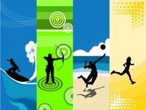 4 sports theme Royalty Free Stock Photos