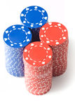 4 stacks of poker chips Royalty Free Stock Images