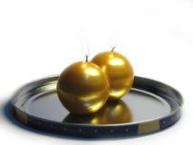 4 stearinljus guld- Fotografering för Bildbyråer