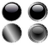 4 Studded Black Buttons 2 Stock Photo