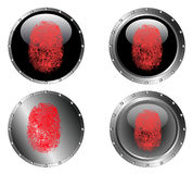 4 Studded Black Buttons. 4 Studded Black Web Buttons with fingerprints on them (on seperated layers Stock Images