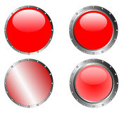 4 Studded Red Buttons Stock Photography