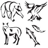 4 stylized animals. Stylized illustrations of a bear, eagle, fox and salmon vector illustration