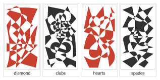 4 suits of cards. Four suits of playing cards artwork Stock Photo