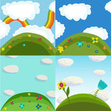 4 summer nature backgrounds Royalty Free Stock Photos