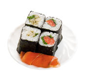 4 sushi on plate with fish. Isolated object on a white Stock Photography