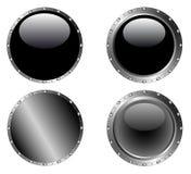 4 tachonó los botones negros 2 Foto de archivo