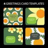 4 tarjetas de felicitación Imágenes de archivo libres de regalías