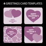 4 tarjetas de felicitación: Día de tarjeta del día de San Valentín Fotos de archivo