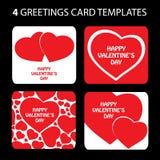 4 tarjetas de felicitación: Día de tarjeta del día de San Valentín stock de ilustración