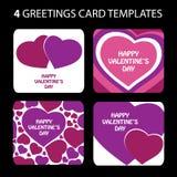 4 tarjetas de felicitación: Día de tarjeta del día de San Valentín Foto de archivo libre de regalías
