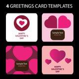 4 tarjetas de felicitación: Día de tarjeta del día de San Valentín Fotos de archivo libres de regalías