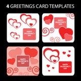 4 tarjetas de felicitación: Día de tarjeta del día de San Valentín Imagenes de archivo