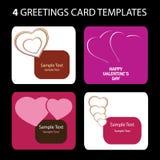 4 tarjetas de felicitación: Día de tarjeta del día de San Valentín Imagen de archivo