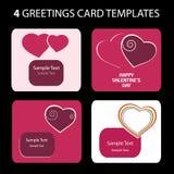 4 tarjetas de felicitación: Día de tarjeta del día de San Valentín Fotografía de archivo