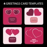 4 tarjetas de felicitación: Día de tarjeta del día de San Valentín ilustración del vector