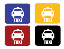 4 taxi sign. Red blue black and yellow Royalty Free Stock Images