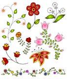 4 tecknade blommor hand fjädervektorn Royaltyfri Fotografi