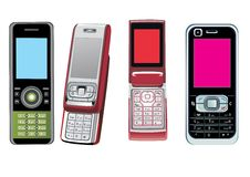 4 teléfonos celulares Fotografía de archivo