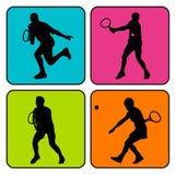 4 tennissilhouetten Vector Illustratie