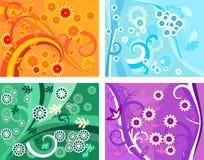 4 testes padrões florais do vetor Imagem de Stock Royalty Free
