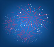 The 4-th of July. Illustration of bright starry fireworks Stock Photography
