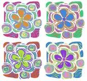 4 tropiska blommor Royaltyfri Bild