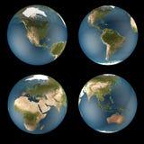4 uwagi na globus świat Fotografia Royalty Free