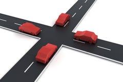 4 véhicules à une intersection Photographie stock