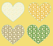 4 vector hearts Stock Images