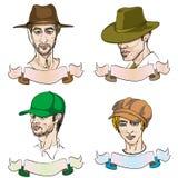 4 verschillende mensen met hoeden Royalty-vrije Stock Foto's