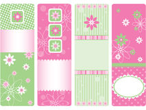 4 vertical tags. 4 vertical gift cards for baby girl, vector illustration Stock Photos