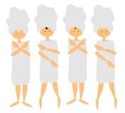 4 vrouwen bij het kuuroord Stock Afbeeldingen