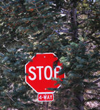 4-Way Stop Sign. In the mountains at Big Bear City, California Royalty Free Stock Photography