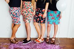 4 Woman in Floral Print Skirt and Black Shirt Stock Photography