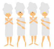 4 women at the spa. Vector graphic of 4 women in towls at the spa Stock Images