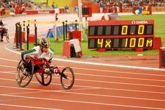 4 X 100m van vrouwen def. T53-T54 Stock Fotografie