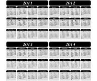 4 Year Calendar on Black. 4 year calendar on a black background 2011, 2012, 2013, 2014 Stock Image