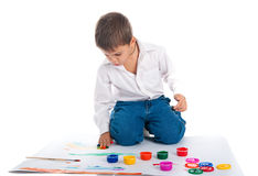 4 year old boy with bright paint Royalty Free Stock Photography