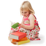4 Year Old Girl Reading royalty free stock images