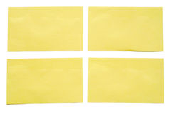 4 yellow notes. Stock Photography