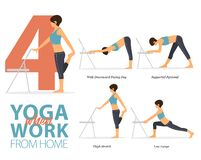 Free 4 Yoga Poses For Office Syndrome When Work From Home In Flat Design. Beauty Woman Is Doing Exercise For Strength On Office Chair. Stock Image - 178152971